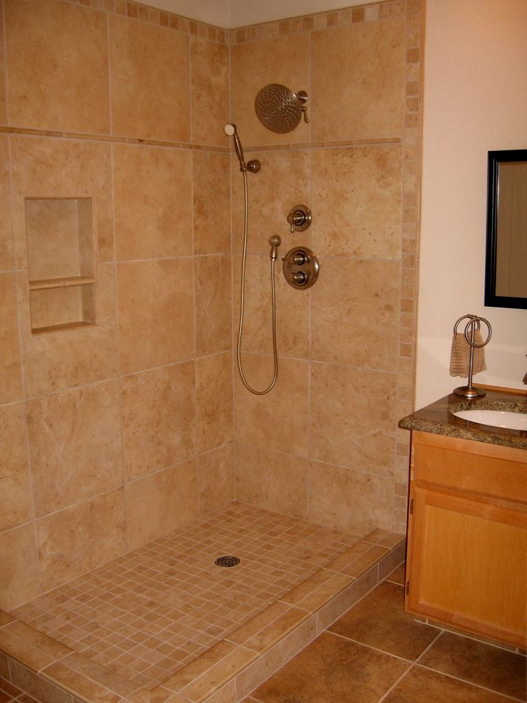 Poreclain Tile Shower With Niche And Travertine Deco 2 In Pan Prior To Gl Door Installation 18 Porcelain Floor
