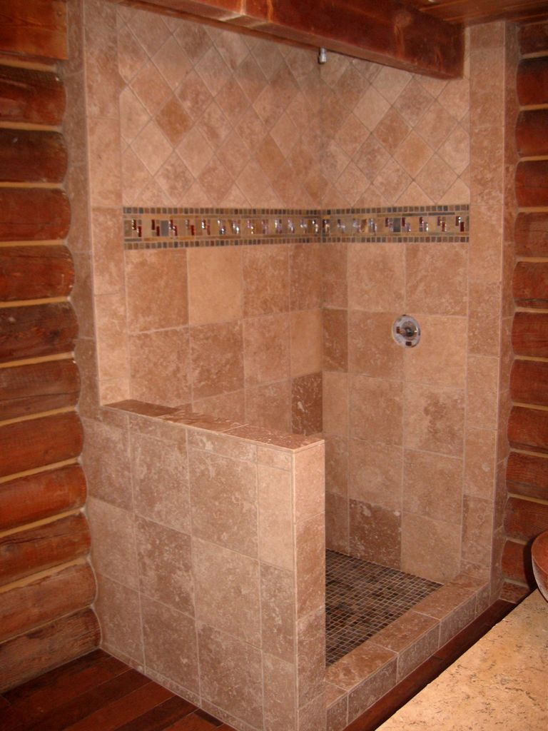 Travertine Shower With Slate Amp Glass Deco Inlay